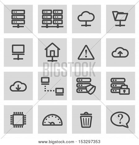 Vector black line ftp icons set on grey background