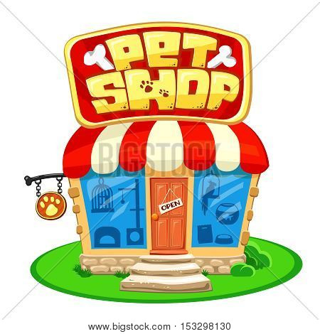 Pet shop. Store building with bright banner. Cartoon Vector illustration isolated on white. Front Facade Design, concept with animal accessories, Street Signboard.