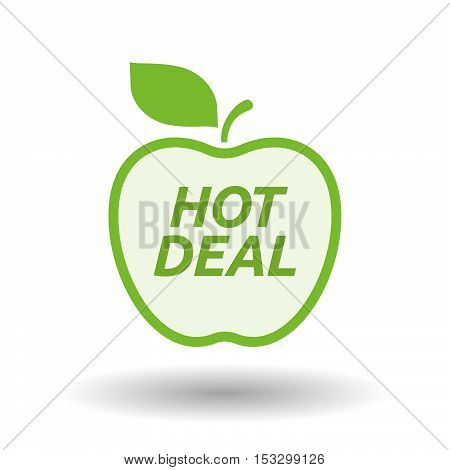 Isolated Line Art Fresh Apple Fruit Icon With    The Text Hot Deal