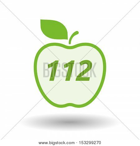 Isolated Line Art Fresh Apple Fruit Icon With    The Text 112