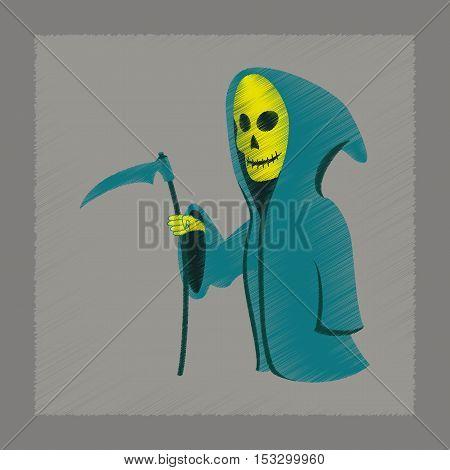 flat shading style icon of halloween death scythe