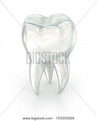 Tooth over white surface. 3d illustration. over white