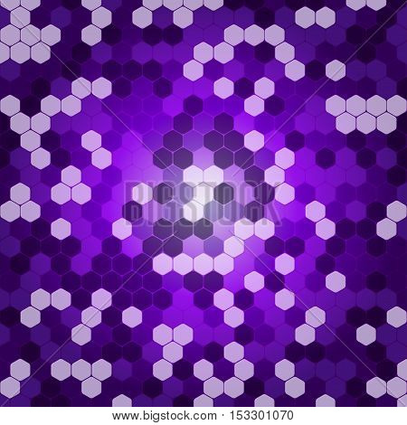 Abstract vector lilac background with hexagon shapes different opacity.