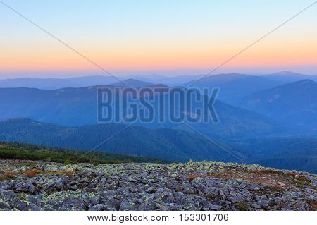 Summer Sunrise Mountain View (carpathian, Ukraine).