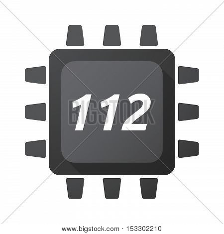 Isolated Central Processing Unit Icon With    The Text 112