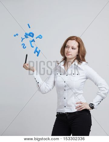 Woman working with a set of letters, writing concept.