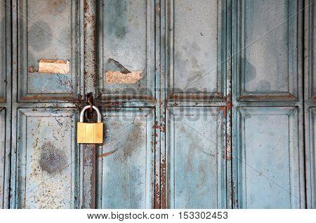 Metal Lock On A Blue Door