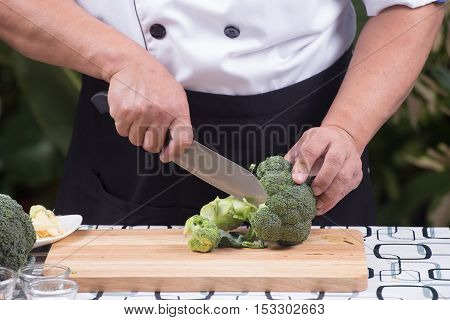 Chef cutting broccoli for cooking / Stir fry broccoli concept