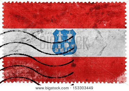 Flag Of Asuncion, Paraguay, Old Postage Stamp