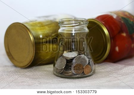 Pickled Vegetables and money russian rubles finance