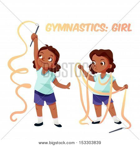 Little african american kid girl doing exercises in gymnastics with ribbon confused in process. Isolated female child in funny cartoon style. Children sport illustration.