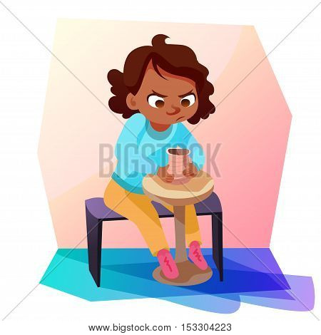 Cute little african american girl sitting and modeling a jug out of clay. Kids hobby cartoon illustration.