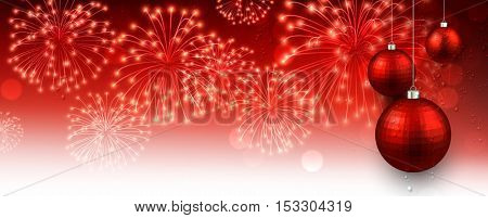 New Year red banner with Christmas balls and fireworks. Vector illustration.