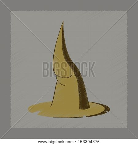 flat shading style icon of witch hat
