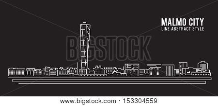 Cityscape Building Line art Vector Illustration design - Malmo city
