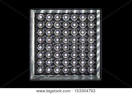 Close up lamp LED (light-emitting diode) shape square isolate on black background