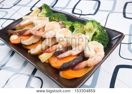 Stir fry Broccoli with shrimp / Stir fry Broccoli concept