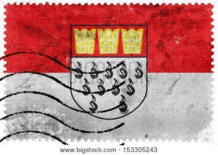 Flag Of Cologne, Germany, Old Postage Stamp