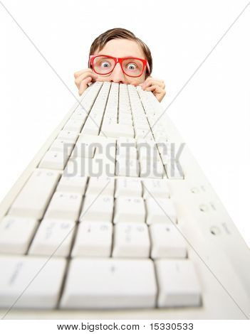 Funny guy with computer keyboard
