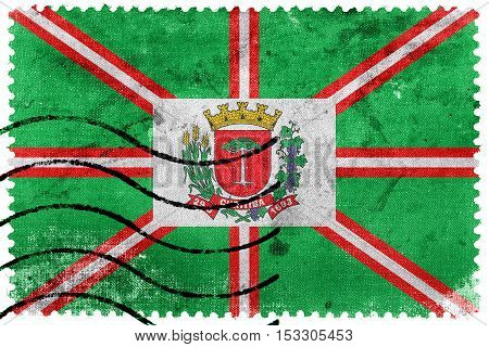 Flag Of Curitiba, Parana, Brazil, Old Postage Stamp