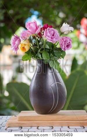 Pink flowers in black jug / Roses in jug.