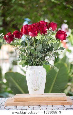 Red flowers in white jug / Roses in jug.