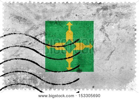 Flag Of Distrito Federal, Brazil, Old Postage Stamp