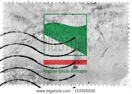 Flag Of Emilia-romagna, Italy, Old Postage Stamp