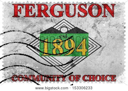 Flag Of Ferguson, Missouri, Usa, Old Postage Stamp