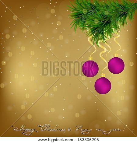 Christmas and New Year Greeting card with Christmas tree snowflakes and and Christmas balls