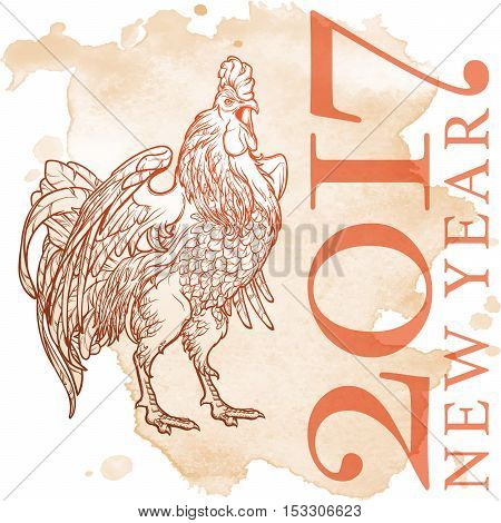 Concept drawing for year of rooster 2017. Crowing Cock - Symbol of New Year 2017. Linear hand drawing on grunge spot texture background. EPS10 vector illustration.