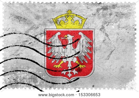 Flag Of Gniezno, Poland, Old Postage Stamp