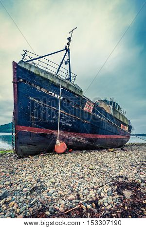 Rusty Ship Wreck In Fort William, Scotland