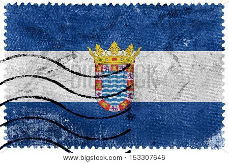 Flag Of Jerez, Andalusia, Spain, Old Postage Stamp
