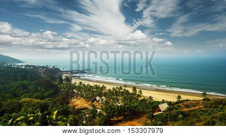 Beautiful view of Goa beach and sky from high, India