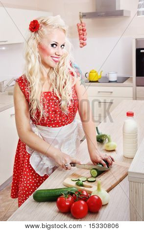 Cheerful housewife preparing food, similar available in my portfolio