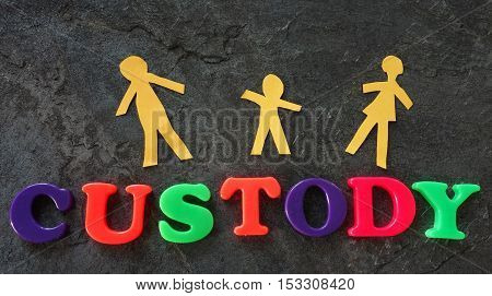 Paper family of three with Custody spelled out in play letters
