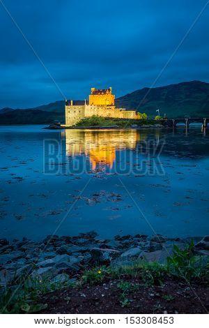 Stunning Eilean Donan Castle After Sunset, Scotland