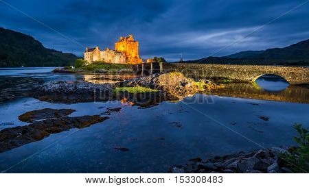 Beautiful Illuminated Eilean Donan Castle At Dusk, Scotland