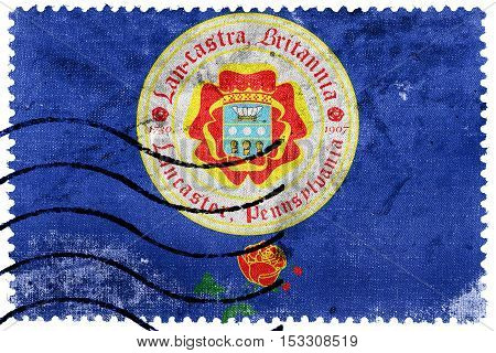 Flag Of Lancaster, Pennsylvania, Usa, Old Postage Stamp