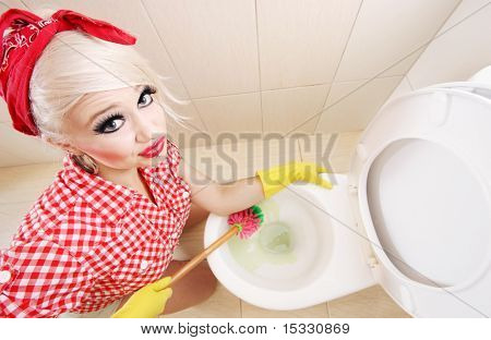 Sexy girl cleaning toilet, similar available in my portfolio poster