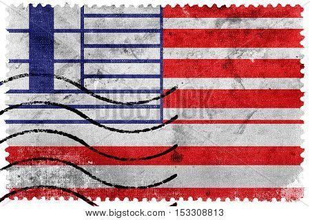Flag Of Lethbridge, Canada, Old Postage Stamp