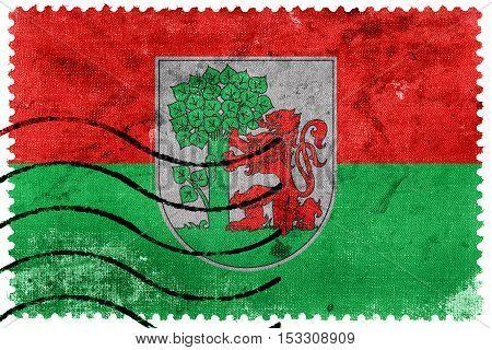 Flag Of Liepaja, Latvia, Old Postage Stamp
