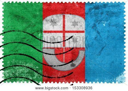 Flag Of Liguria, Italy, Old Postage Stamp