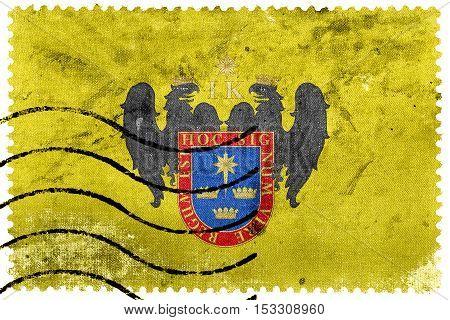 Flag Of Lima, Peru, Old Postage Stamp