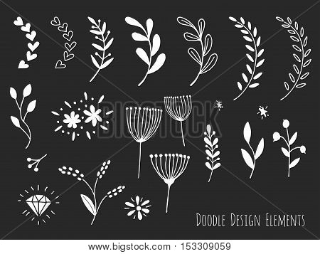 Collection of hand drawn doodle design elements isolated on white background. Set of handdrawn borders laurel floral dividers flowers diamond. Abstract hand sketched shapes. Vector illustration.