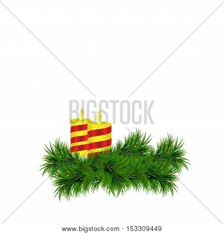 white background with spruce twig and candles. Vector illustration. eps10.