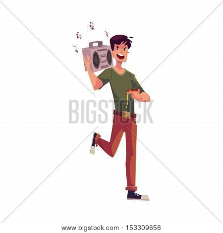 Young man dancing at the party with tape recorder on his shoulder and pizza in hand, cartoon vector illustration isolated on white background. Young woman having much fun at the party