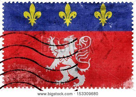 Flag Of Lyonnais, France, Old Postage Stamp