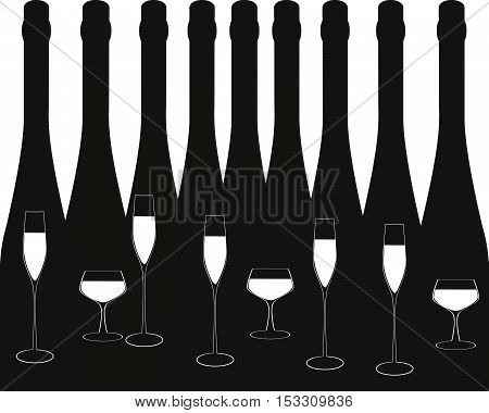 .Alcoholic Bottles Background.Wine List Design.Cocktail Party Vector.Bar Menu Ilustration.Suitable for Poster.Invitation Card with Glasses.liquor list art.